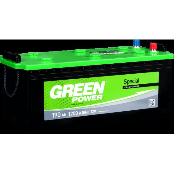 Аккумулятор для авто Аккумуляторная батарея GREEN POWER 6СТ-190АЗ (3) (B) 1250А 12V (E)