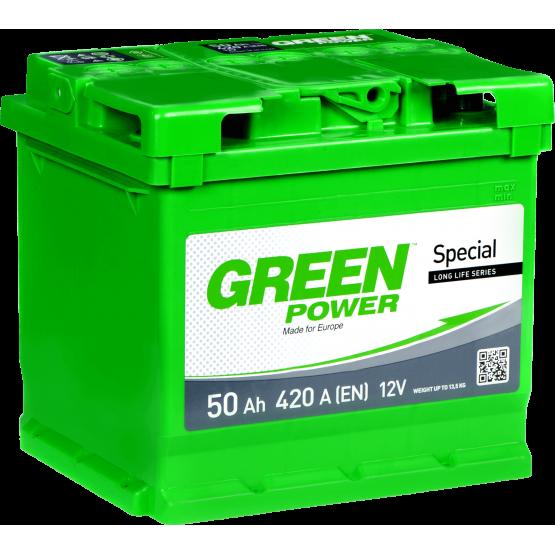 Аккумулятор для авто Аккумуляторная батарея GREEN POWER 6СТ-50АЗ (1) (L1) 420А 12V (E)