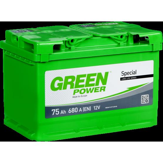 Аккумулятор для авто Аккумуляторная батарея GREEN POWER 6СТ-75АЗ (1) (L3) 680А 12V (E)