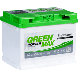 Аккумуляторная батарея GREEN POWER Max 6СТ-62АЗ (0) (L2) 600А 12V (E)