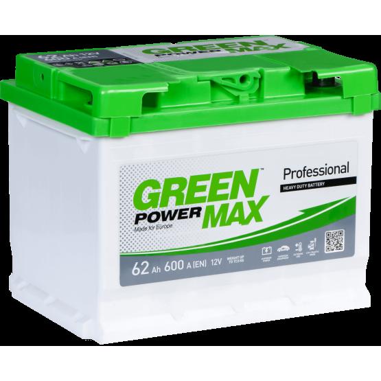 Аккумулятор для авто Аккумуляторная батарея GREEN POWER Max 6СТ-62АЗ (1) (L2) 600А 12V (E)