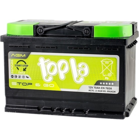 Аккумулятор для авто 70 E(0) Topla Top AGM Stop & Go (L3+B13) 760A