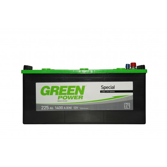 Аккумулятор для авто Аккумуляторная батарея GREEN POWER 6СТ-225АЗ (3) (C) 1400А 12V (E)